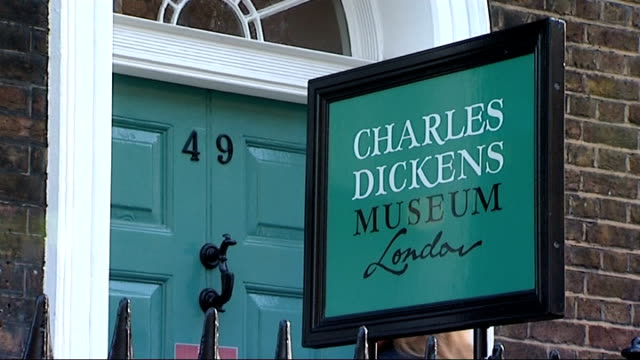 'the invisible woman': ralph fiennes interview / charles dickens museum; england: london: ext blue plaque on wall 'charles dickens 1812 - 1870 -... - pen and ink stock videos & royalty-free footage