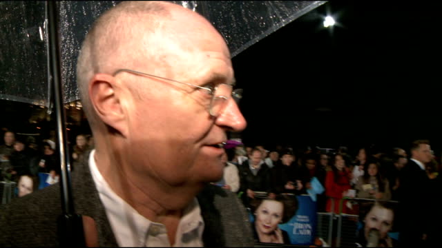 'the iron lady' premiere: 'blue' carpet general views and interviews; jim broadbent interview sot - on hoping meryl streep wins an oscar for this... - richard e. grant stock videos & royalty-free footage