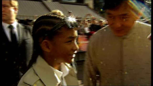 'The Karate Kid' premiere in London ENGLAND London Leicester Square EXT Jaden Smith LIVE interview joined by Jackie Chan SOT On the screaming fans /...