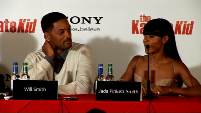 'the karate kid' press conference in london jada pinkett smith press conference sot explains why they decided to produce rather than to star in the... - jaden smith stock videos & royalty-free footage