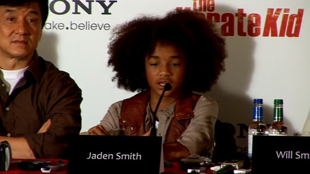 'the karate kid' press conference in london jaden smith press conference sot on doing a lot of martial arts in the movie says it wasn't as hard as he... - jaden smith stock videos & royalty-free footage