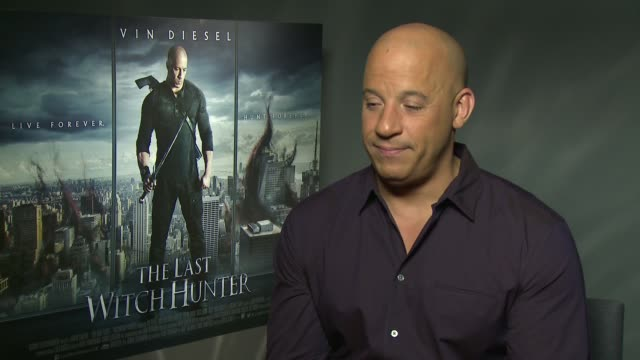 'the last witch hunter' london film premiere vin diesel interview england london int vin diesel interview on his new film the last witch hunter sot - vin diesel stock videos and b-roll footage