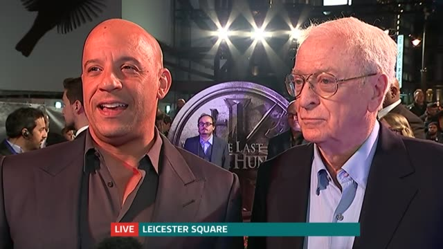 'the last witch hunter' london film premiere; vin diesel live interview sot michael caine live interview sot - 俳優 マイケル・ケイン点の映像素材/bロール