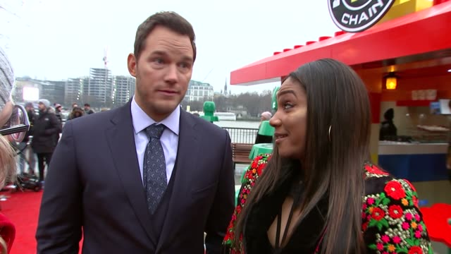 'the lego movie 2' popup cafe and interviews england london southwark south bank chris pratt and tiffany haddish interview sot - chris pratt actor stock videos and b-roll footage