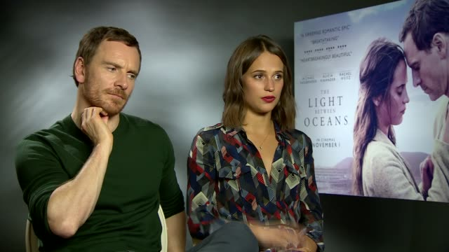 The Light Between Oceans junket interviews ENGLAND London INT Michael Fassbender and Alicia Vikander junket interview SOT