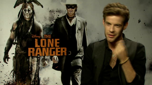 'the lone ranger' junket interviews harry treadaway interview sot - the lone ranger 2013 film stock videos and b-roll footage