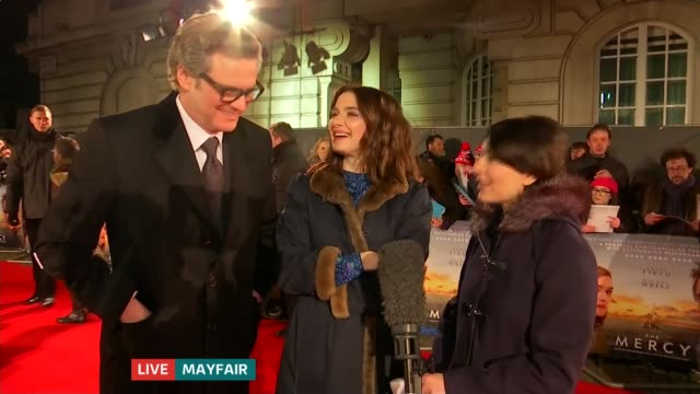 'The Mercy' premiere ENGLAND London Mayfair Rachel Weisz and Colin Firth LIVE Interview SOT