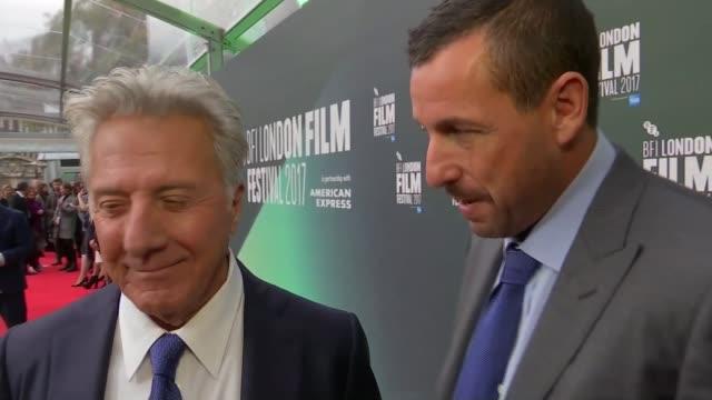 'The Meyerowitz Stories' premiere Dustin Hoffman and Adam Sandler interview on red carpet SOT
