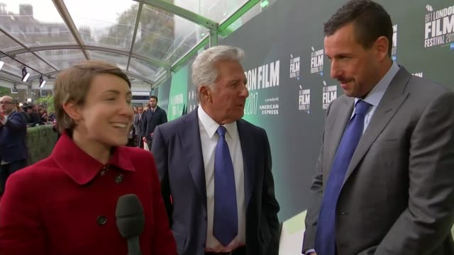 'The Meyerowitz Stories' premiere ENGLAND London INT Dustin Hoffman and Adam Sandler interview on red carpet SOT