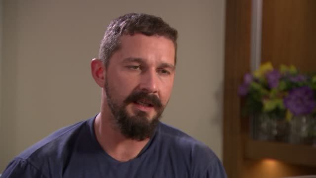 'the peanut butter falcon' actor shia labeouf credits co-star with down's syndrome with saving his life; england: int shia labeouf interview sot - shia labeouf stock videos & royalty-free footage