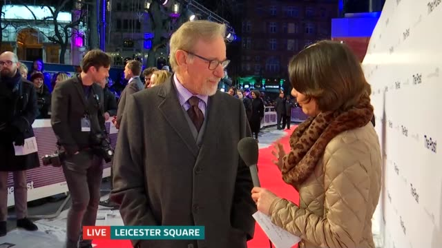 'The Post' premiere red carpet interviews ENGLAND London Leicester Square EXT Steven Spielberg LIVE red carpet interview SOT