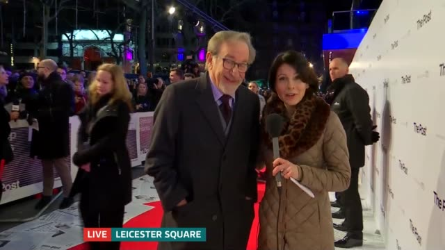 'The Post' premiere red carpet interviews ENGLAND London Leicester Square Reporter to camera Steven Spielberg into shot Steven Spielberg LIVE red...
