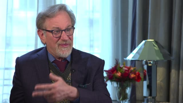 'The Post' Steven Spielberg interview ENGLAND London INT Steven Spielberg interview SOT relevance of film in light of Trump / interpretation of truth...