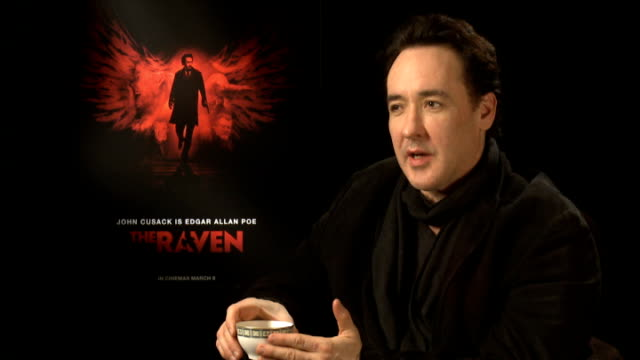 the raven interviews england london int john cusack interview sot playing with the 'truth' of edgar alan poe's last days the intensity of poe fans... - 伝記映画点の映像素材/bロール