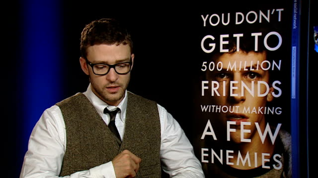 'the social network' junket interviews england london int justin timberlake interview sot this is not just a film about internet site it's about... - justin timberlake stock-videos und b-roll-filmmaterial