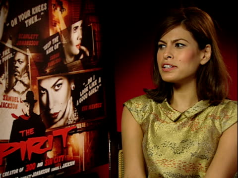 'The Spirit' interviews ENGLAND London INT Eva Mendes interview SOT Loved the action in the film and that the girls got piece of the action / On her...