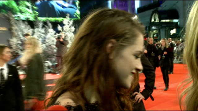 'the twilight saga: breaking dawn - part 2' premiere: fans and stars of film; kristen stewart interview sot - what advice she would give to herself... - myanna buring stock videos & royalty-free footage