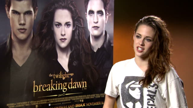 'the twilight saga: breaking dawn - part 2' premiere: interviews with stars; england: london: int kirsten stewart interview sot - on her emotional... - twilight stock videos & royalty-free footage