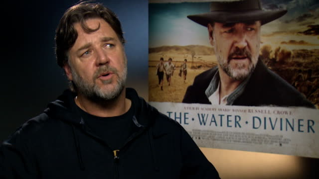 'the water diviner' junket interviews russell crowe interview sot - russell crowe stock videos & royalty-free footage