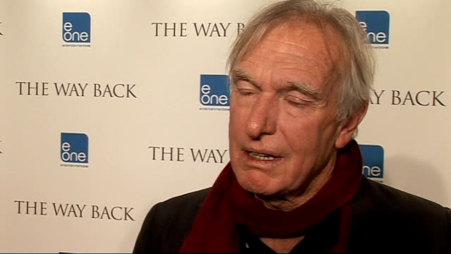'The Way Back' premiere celebrity interviews Peter Weir speaking to press and interview SOT On the unbelievable cast / working with Ed Harris again /...