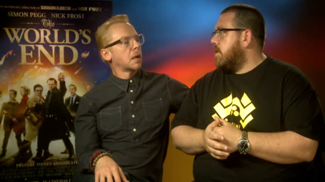 the world's end junket interviews simon pegg and nick frost interview sot - nick frost actor stock videos & royalty-free footage