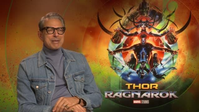 'Thor Ragnarok' junket interviews with Jeff Goldblum and Taika Waititi ENGLAND London INT Jeff Goldblum interview SOT / Taika Waittiti interview SOT