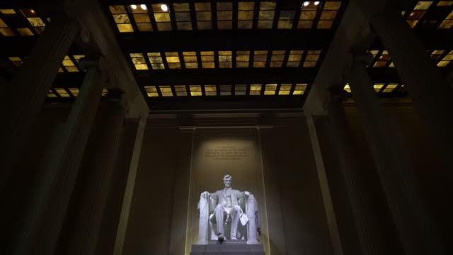 film tilt: abraham lincoln statue in lincoln memorial building in washington, dc usa - abraham lincoln stock videos & royalty-free footage