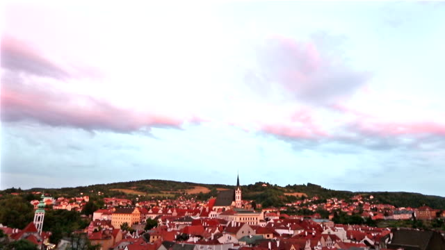 Film tilt: Aerial  Cesky Krumlov old Town at dusk Czech Republic