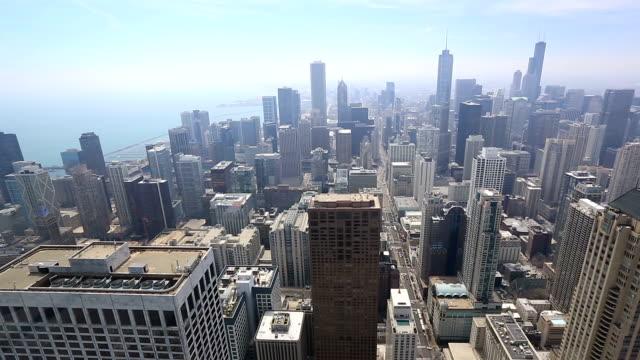Film Tilt: Luchtfoto Chicago Skyline stadsgezicht USA