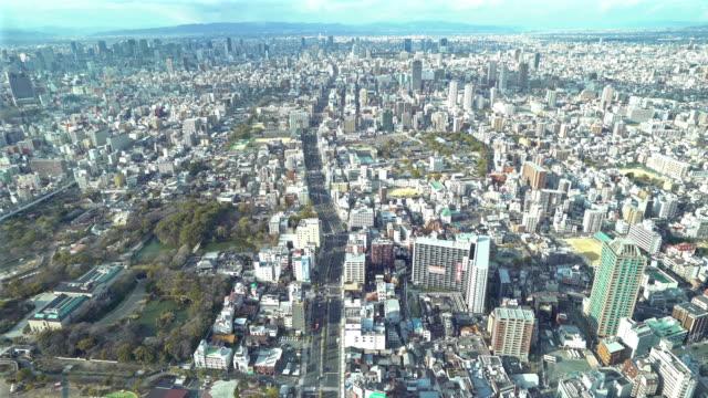 Film Tilt luchtfoto Osaka Cityscape van Tennoji in actie