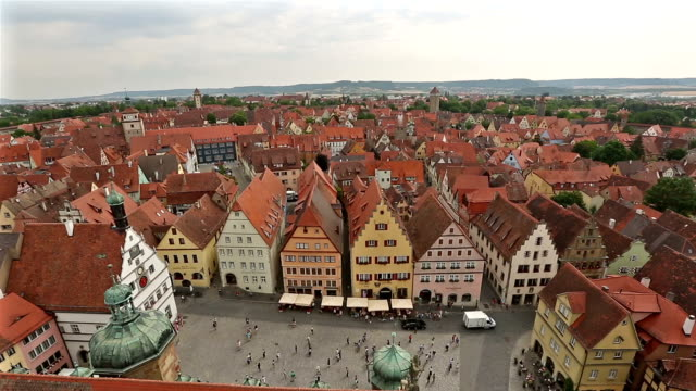 Film-Tilt: Antenne Fußgänger voll Rothenburg Ob der Tauber, Bavaria, Germany