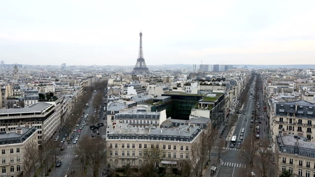 hd film tilt: aerial view of eiffel tower and paris cityscape - tilt stock videos & royalty-free footage