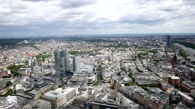 film tilt: aerial view of frankfurt cityscape - crane shot stock videos & royalty-free footage