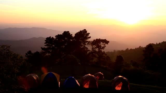HD Film Tilt: Campsite Tent in Forest sunset