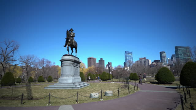 film tilt george washington statue at boston common park, ma usa. - back bay boston stock videos & royalty-free footage