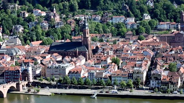 夏、ドイツで映画チルト: ハイデルベルクの街並み - ハイデルベルク点の映像素材/bロール