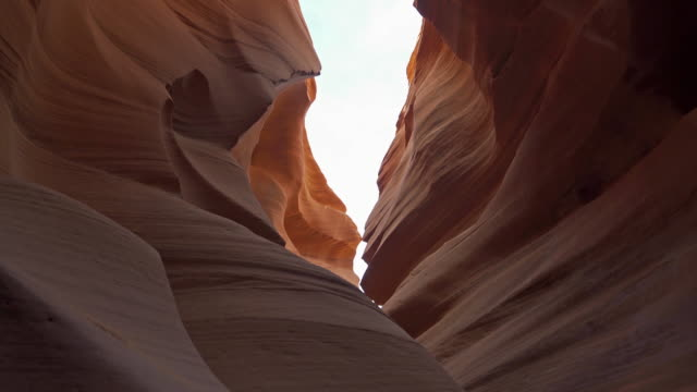 film tilt of low angle of lower antelope canyon navajo tribal park in utah usa - mesa stock videos and b-roll footage