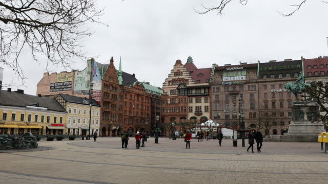 Film Tilt of Malmo downtown Stortorget Square Torg Sweden