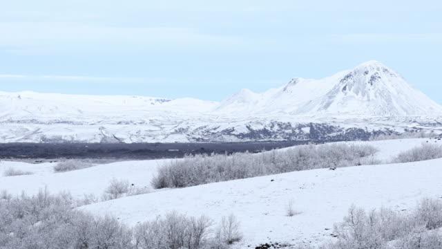 Film Tilt of Winter landscape at Dimmuborgir Lake Myvatn, Iceland