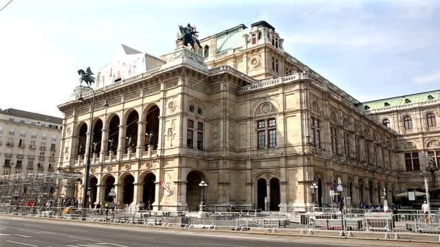 film tilt pedestrian crowded at vienna opera austria - opera stock videos & royalty-free footage