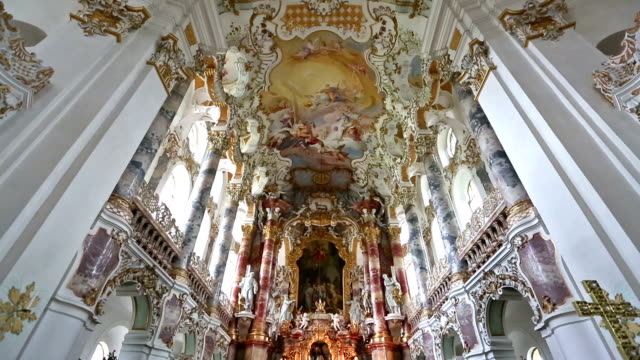 Film Tilt: Pilgrimage Church of Wies near  Fussen Bavaria, Germany