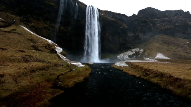 hd film tilt: seljalandsfoss waterfall, iceland - seljalandsfoss waterfall stock videos and b-roll footage