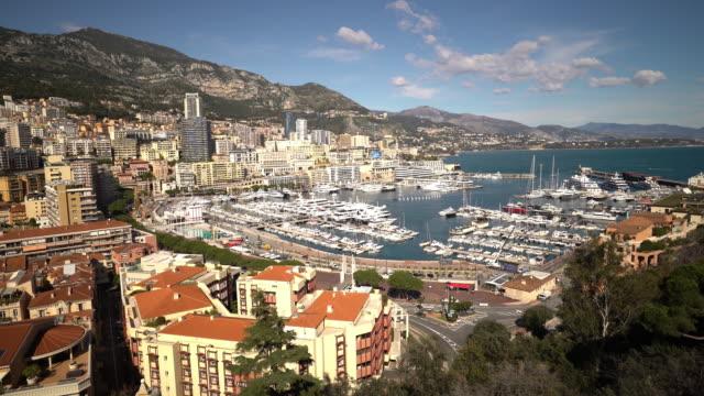 film tilt shot aerial monaco monte carlo harbour french riviera - monte carlo stock videos & royalty-free footage
