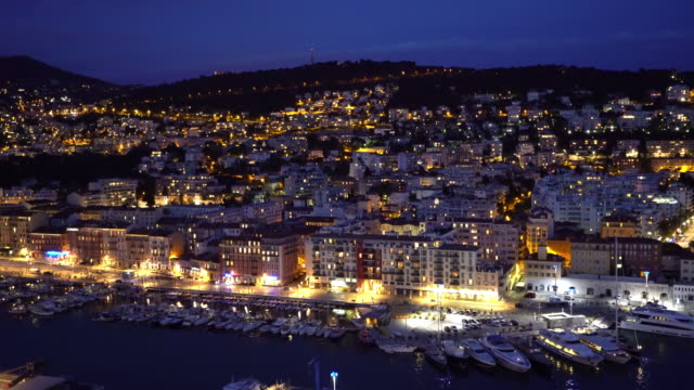 film tilt shot nice marina port french riviera france night - cote d'azur stock videos & royalty-free footage
