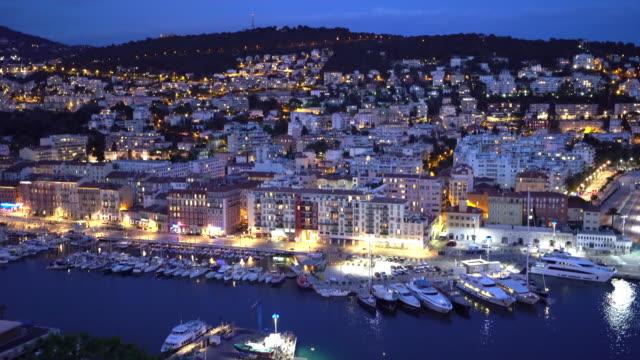 film tilt shot Nice Marina Port French Riviera France night