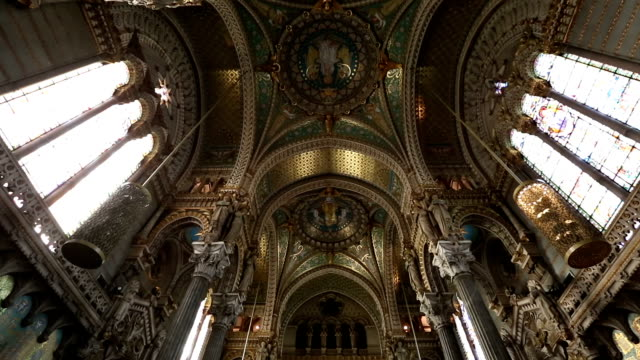 film tilt shot of lyon notre-dame de fourviere basilica church france - crane shot stock videos and b-roll footage