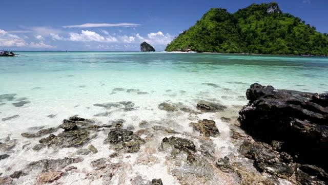 kamerawinkel: tropischen sandstrand andamanischen meer in krabi, thailand - küste stock-videos und b-roll-filmmaterial
