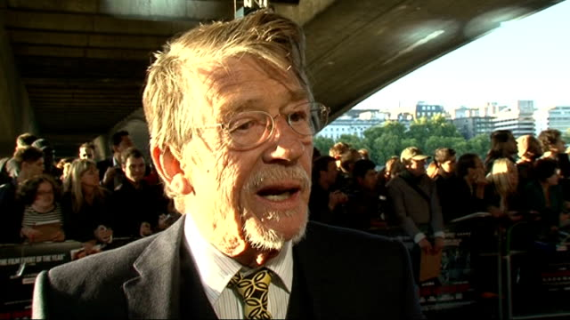'tinker tailor soldier spy' premiere: celebrity interviews; john hurt interview sot - on the great cast / benedict cumberbatch / would like to see... - リドリー・スコット点の映像素材/bロール
