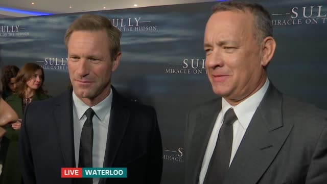 Tom Hanks and Aaron Eckhart at 'Sully' premiere ENGLAND London IMAX Waterloo SCREEN*** Tom Hanks and Aaron Eckhart LIVE interview SOT