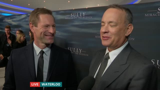 Tom Hanks and Aaron Eckhart at 'Sully' premiere Tom Hanks and Aaron Eckhart LIVE interview SOT